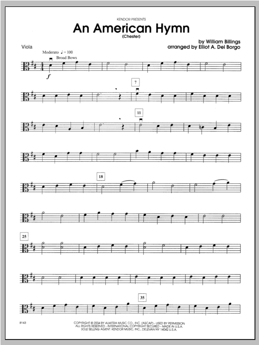 An American Hymn (Chester) - Viola Sheet Music