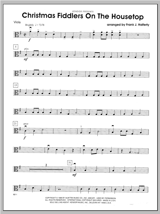 Christmas Fiddlers On The Housetop - Viola Sheet Music