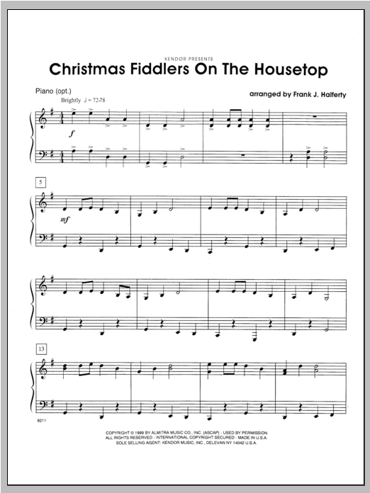 Christmas Fiddlers On The Housetop - Piano Sheet Music