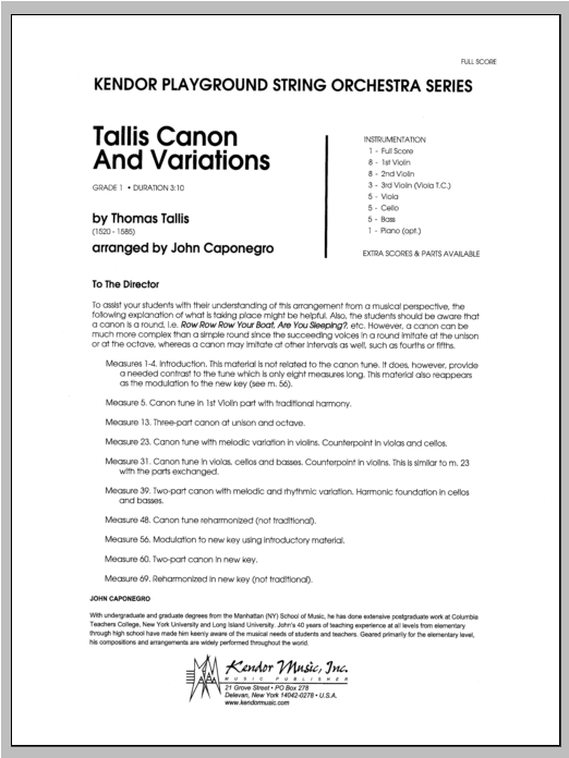 Tallis Canon And Variations (COMPLETE) sheet music for orchestra by Caponegro. Score Image Preview.