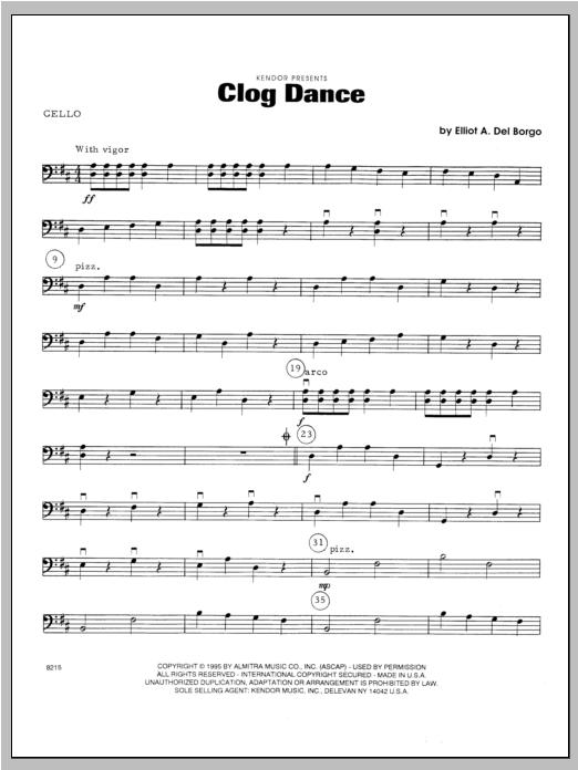 Clog Dance - Cello Sheet Music