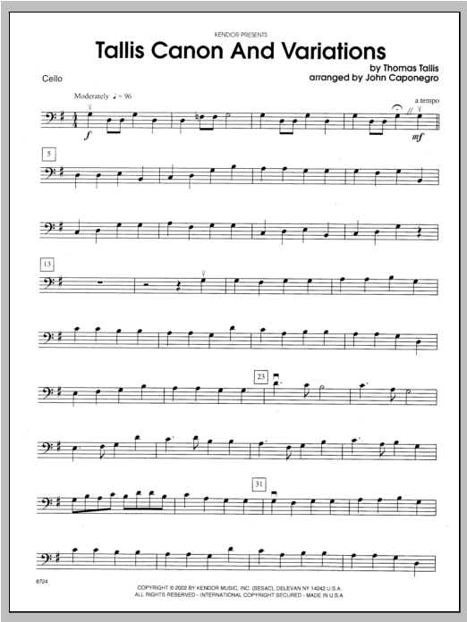 Tallis Canon And Variations - Cello Sheet Music