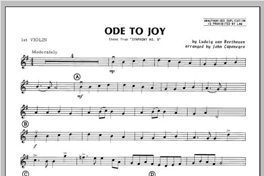 Ode To Joy - Violin 1 Sheet Music