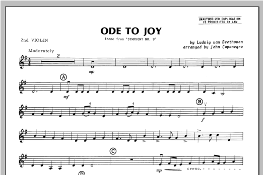 Ode To Joy - Violin 2 Sheet Music
