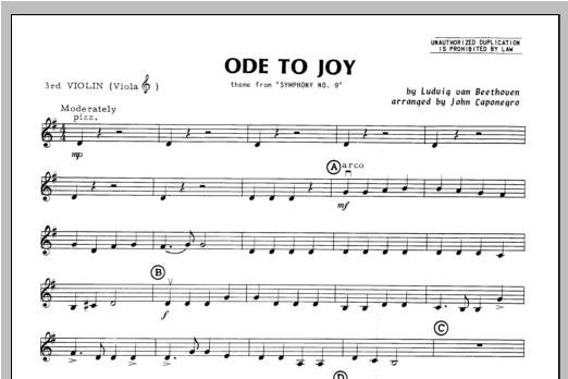 Ode To Joy - Violin 3 Sheet Music