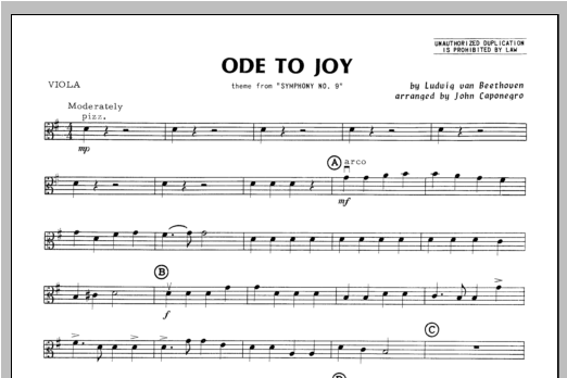 Ode To Joy - Viola Sheet Music