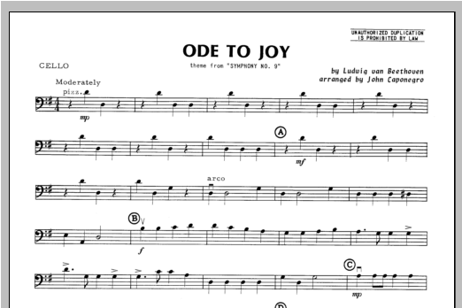 Ode To Joy - Cello Sheet Music