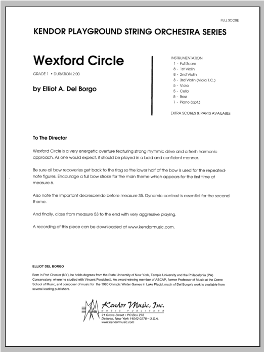 Wexford Circle (COMPLETE) sheet music for orchestra by Del Borgo. Score Image Preview.