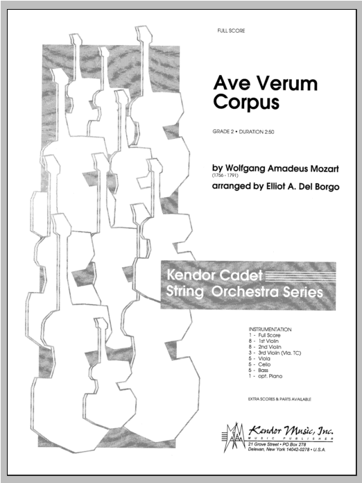 Ave Verum Corpus (COMPLETE) sheet music for orchestra by Del Borgo and Wolfgang Amadeus Mozart. Score Image Preview.