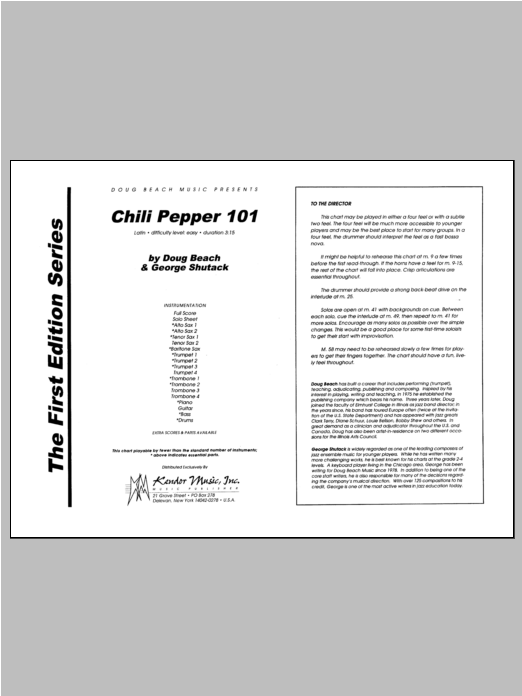 Chili Pepper 101 (COMPLETE) sheet music for jazz band by Beach, Shutack. Score Image Preview.