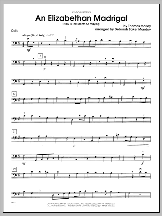 An Elizabethan Madrigal (Now Is The Month Of Maying) - Cello Sheet Music