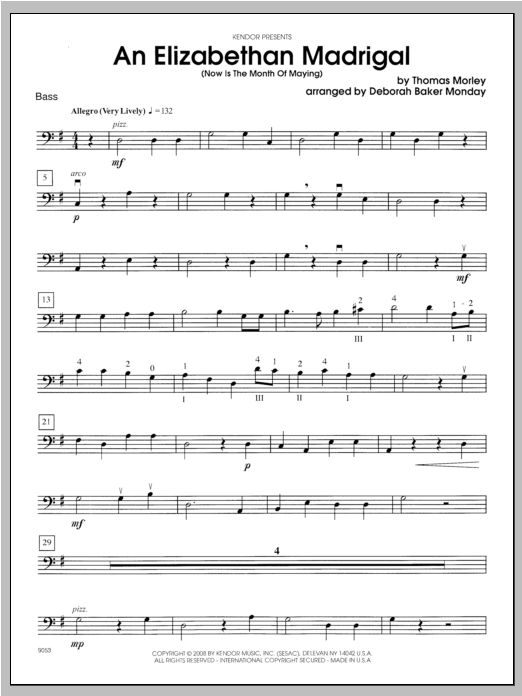 An Elizabethan Madrigal (Now Is The Month Of Maying) - Bass Sheet Music