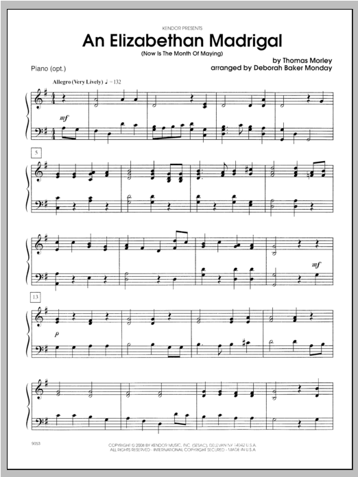 An Elizabethan Madrigal (Now Is The Month Of Maying) - Piano Sheet Music