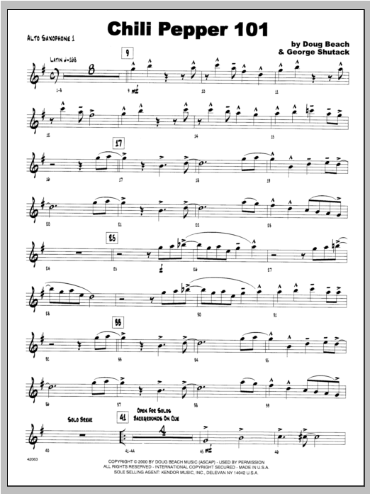 Chili Pepper 101 - Alto Sax 1 Sheet Music