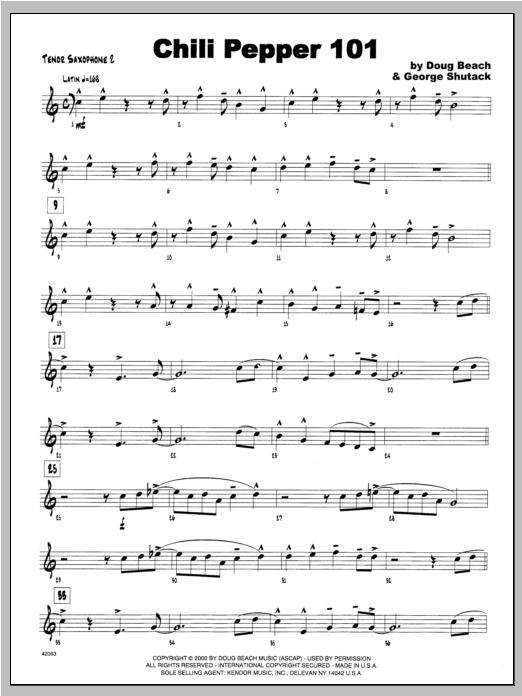 Chili Pepper 101 - Tenor Sax 2 Sheet Music