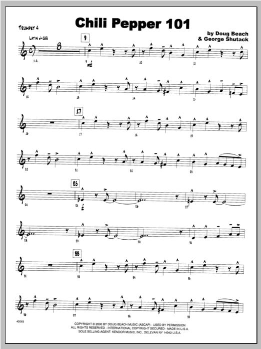 Chili Pepper 101 - Trumpet 4 Sheet Music