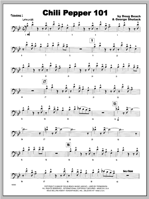Chili Pepper 101 - Trombone 1 Sheet Music
