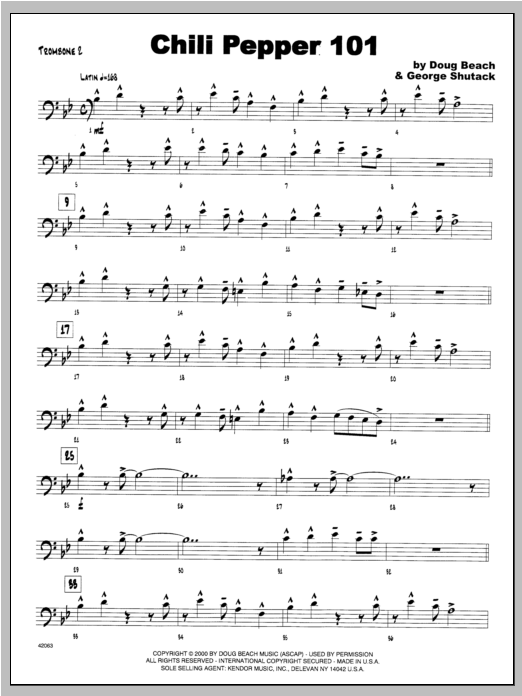Chili Pepper 101 - Trombone 2 Digitale Noten