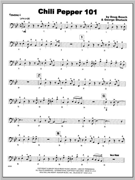 Chili Pepper 101 - Trombone 4 Sheet Music