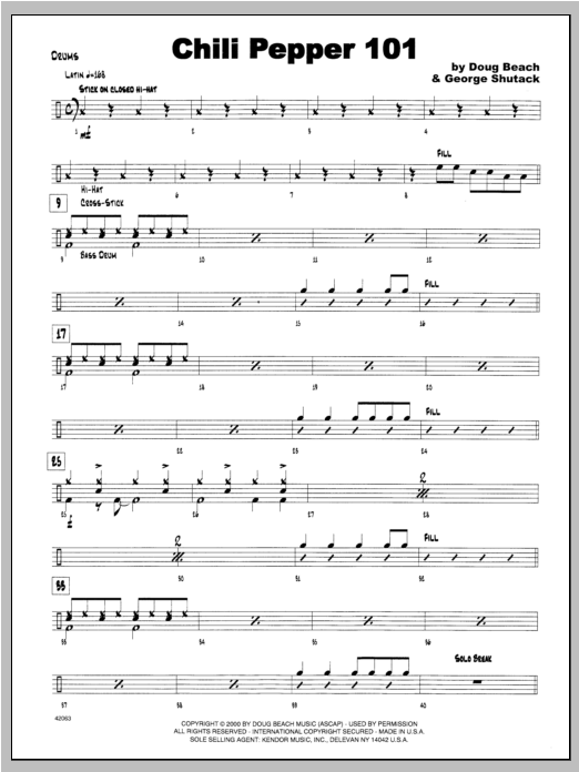 Chili Pepper 101 - Drums Sheet Music