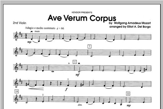 Ave Verum Corpus - Violin 2 Partituras Digitales