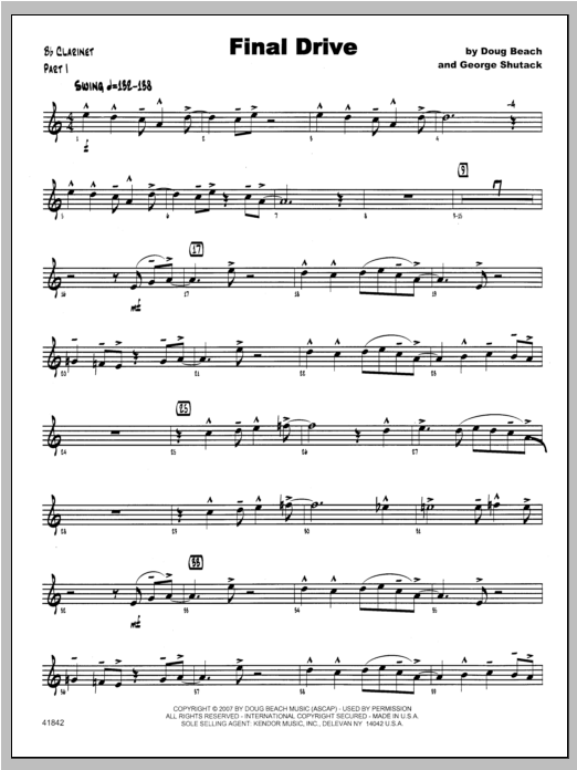 Final Drive - Clarinet Sheet Music