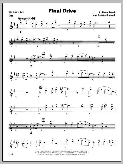 Final Drive - Alto Sax 1 Sheet Music