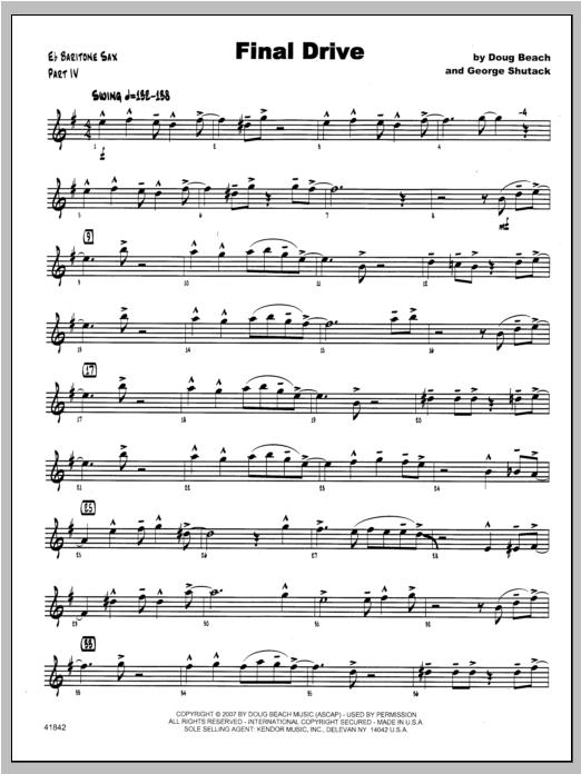 Final Drive - Baritone Sax Sheet Music