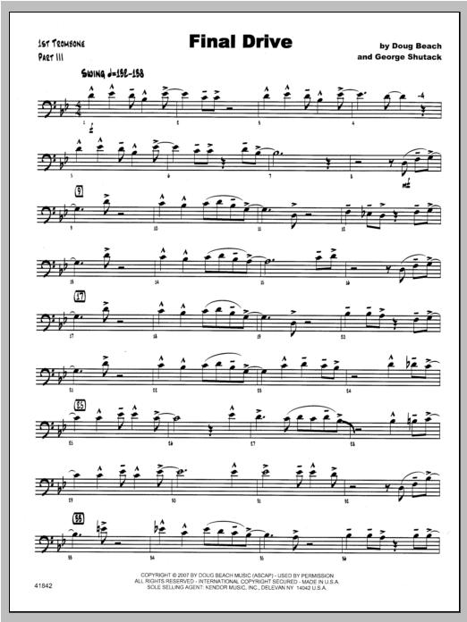 Final Drive - Trombone 1 Sheet Music