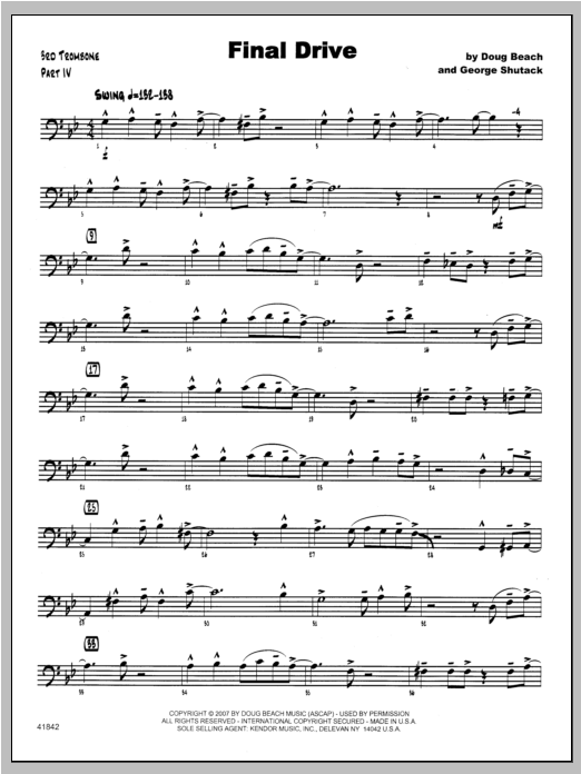 Final Drive - Trombone 3 Sheet Music