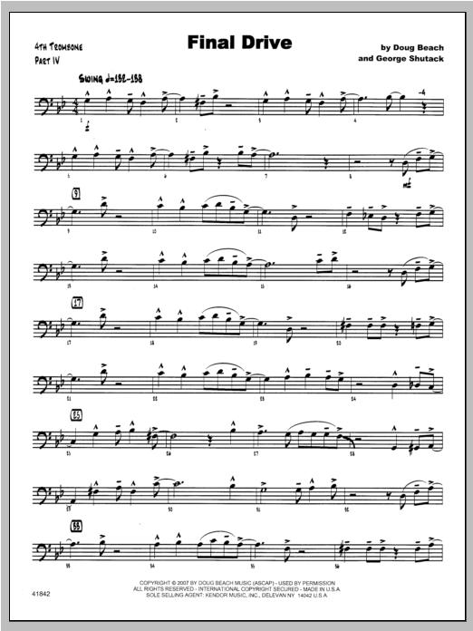 Final Drive - Trombone 4 Sheet Music