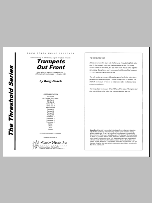 Trumpets Out Front (COMPLETE) sheet music for jazz band by Beach. Score Image Preview.