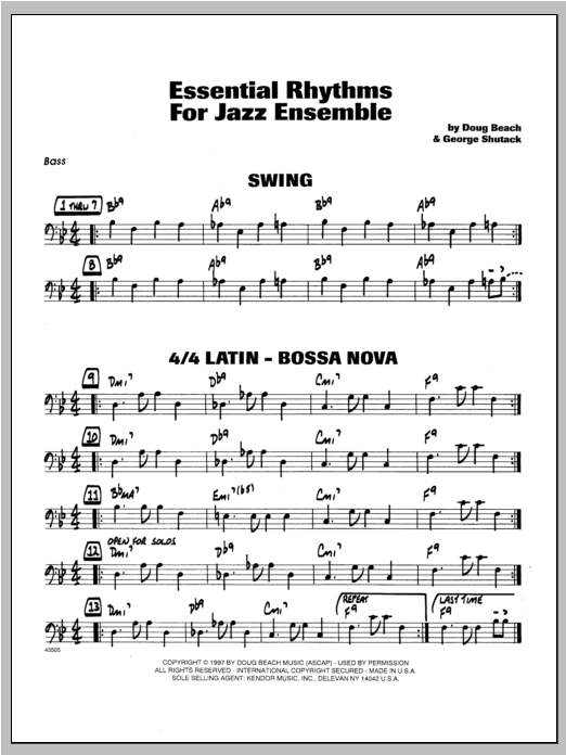 Essential Rhythms For Jazz Ensemble - Bass Sheet Music
