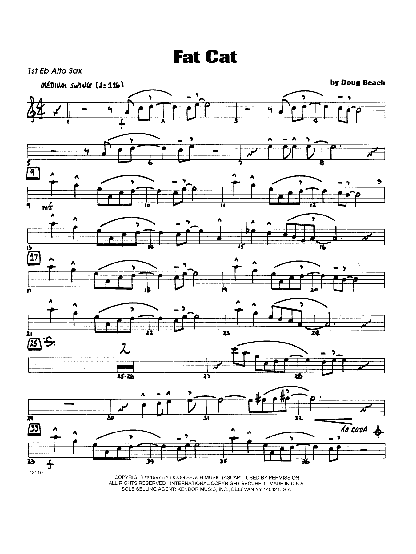 Fat Cat - Alto Sax 1 Sheet Music