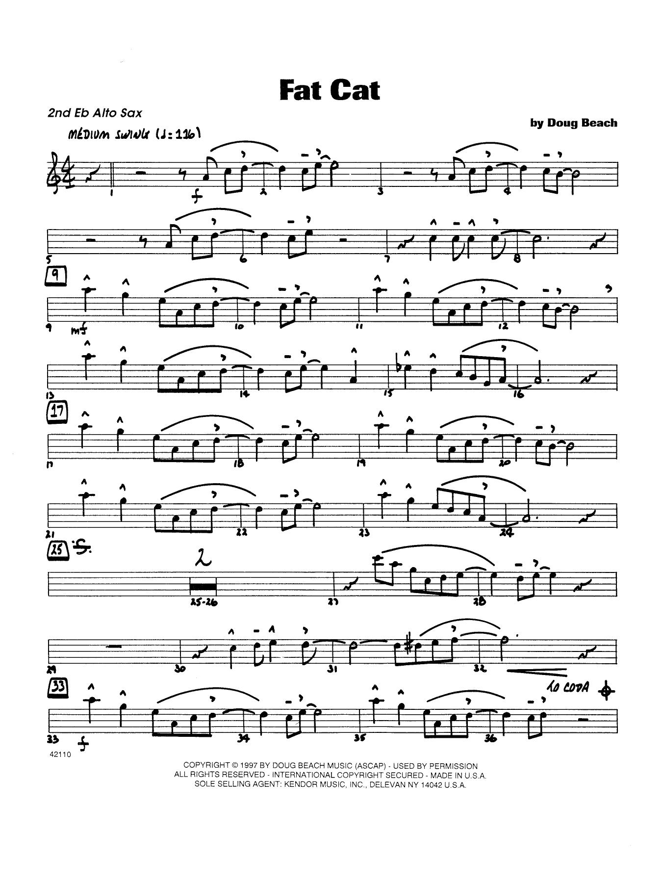 Fat Cat - Alto Sax 2 Sheet Music