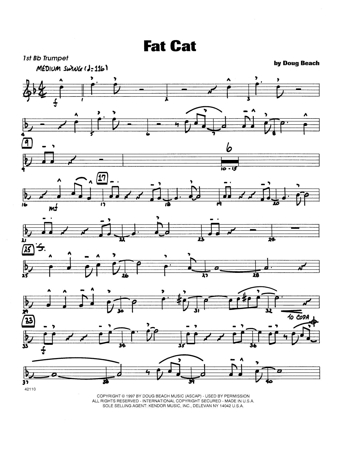Fat Cat - Trumpet 1 Sheet Music