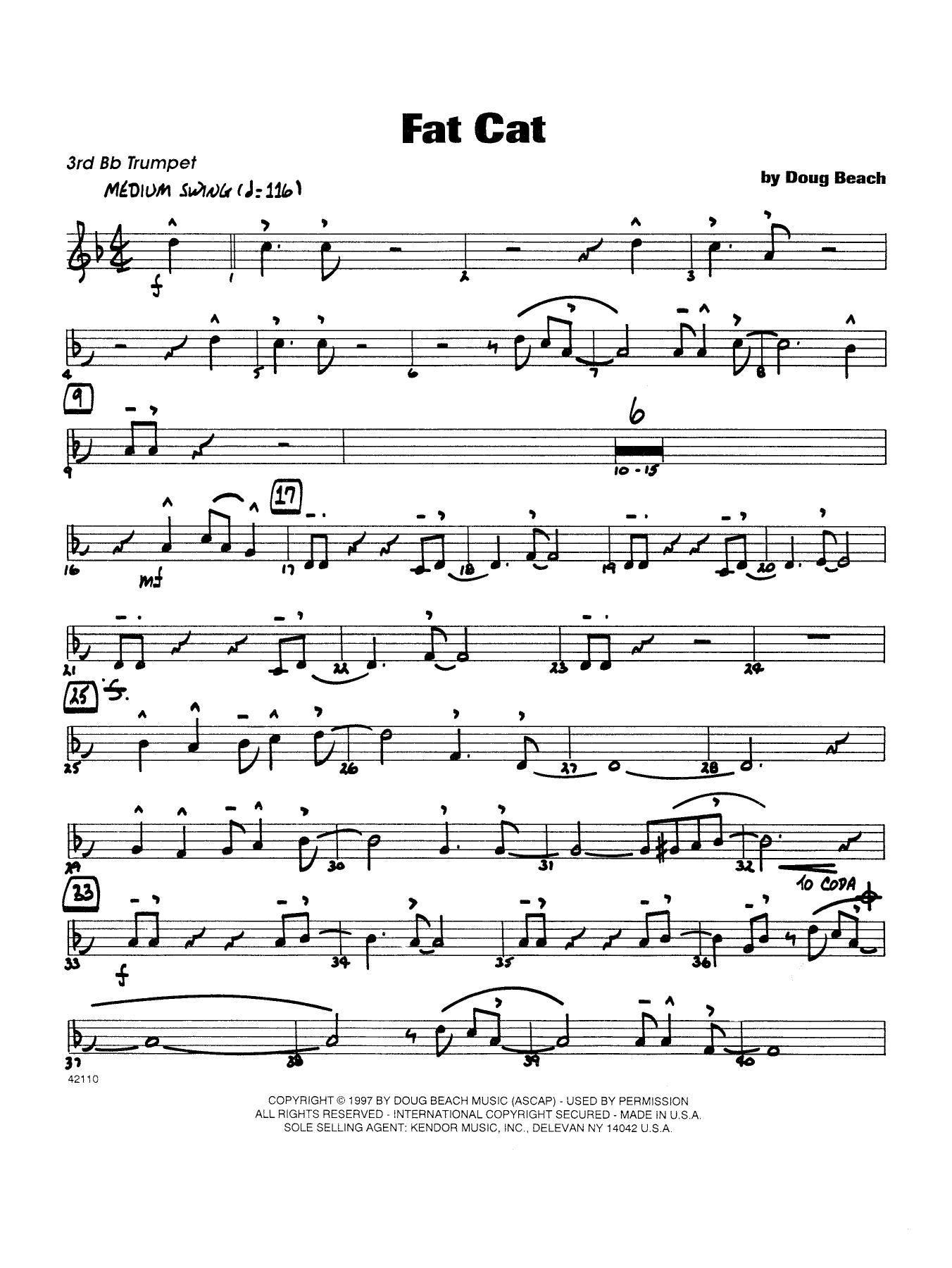 Fat Cat - Trumpet 3 Sheet Music