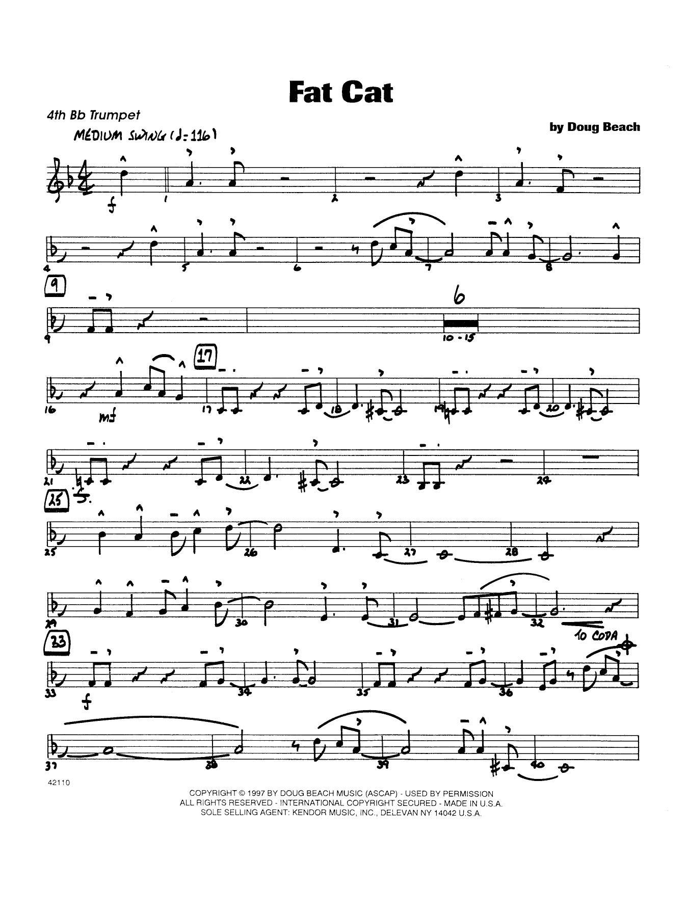 Fat Cat - Trumpet 4 Sheet Music