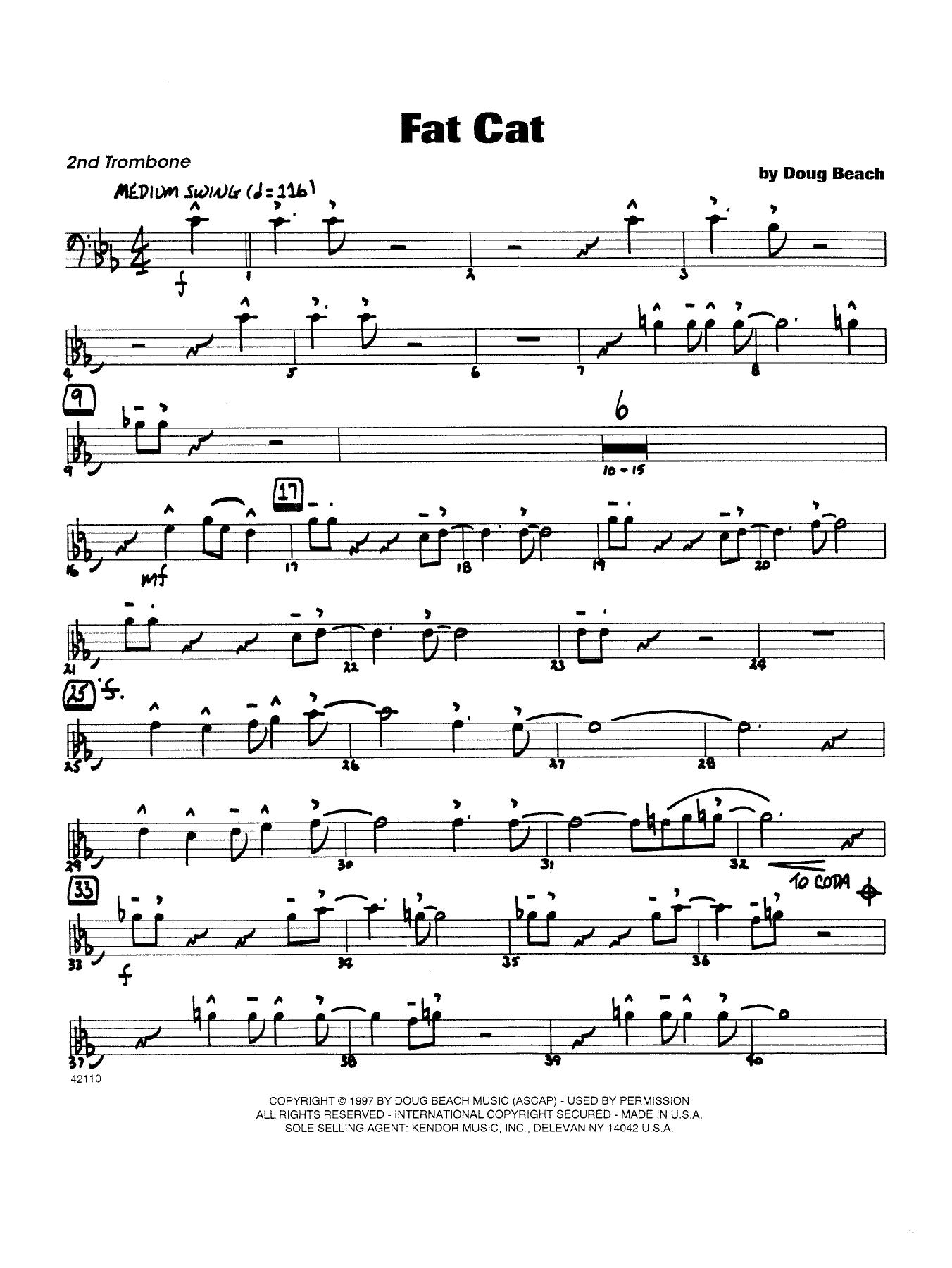 Fat Cat - Trombone 2 Sheet Music