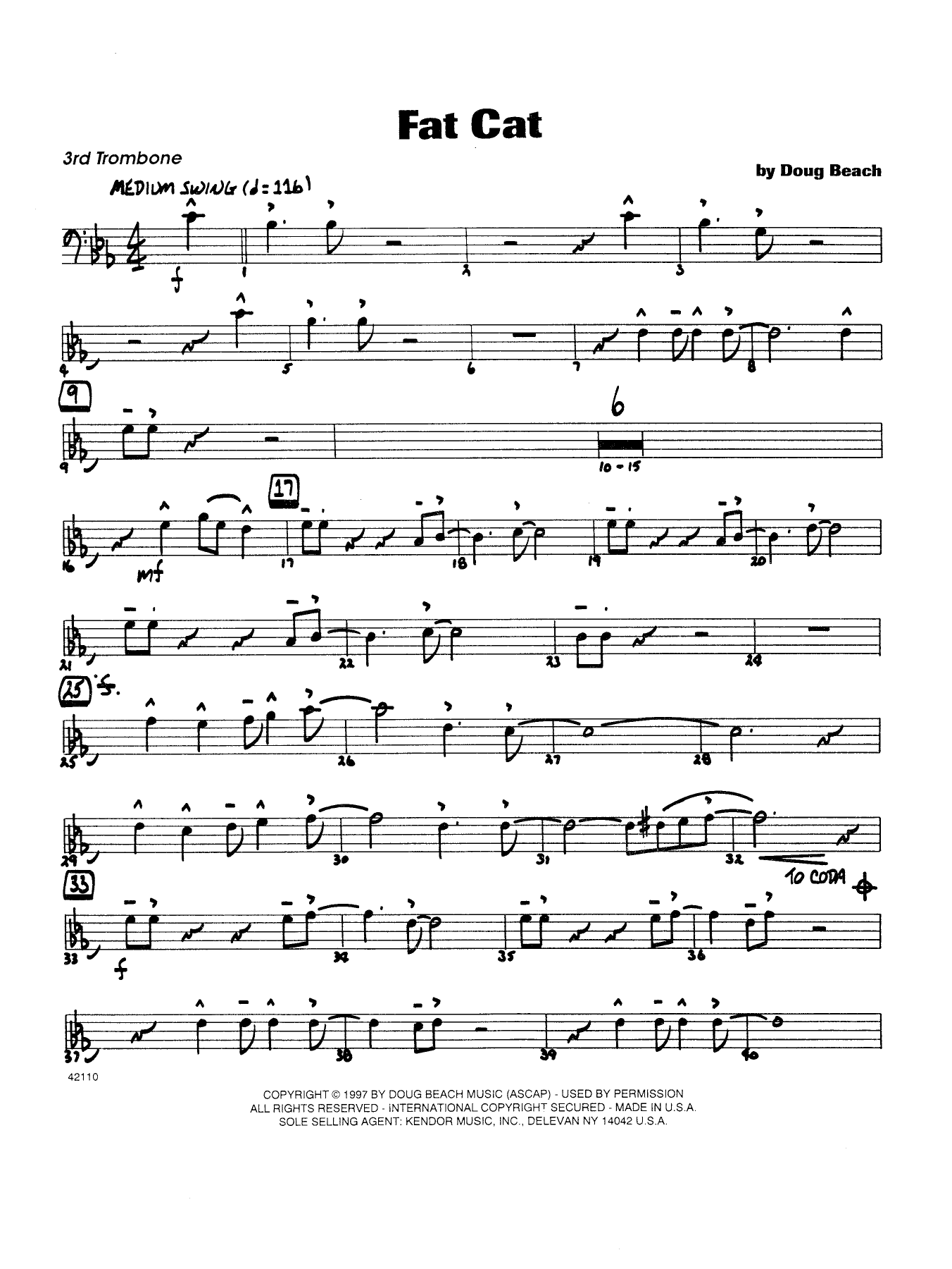Fat Cat - Trombone 3 Sheet Music