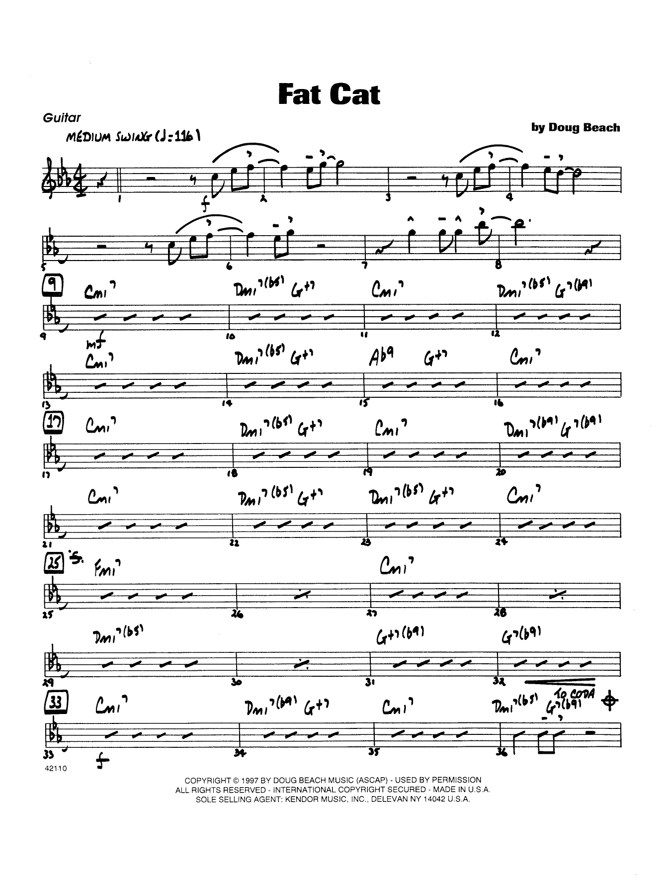 Fat Cat - Guitar Sheet Music
