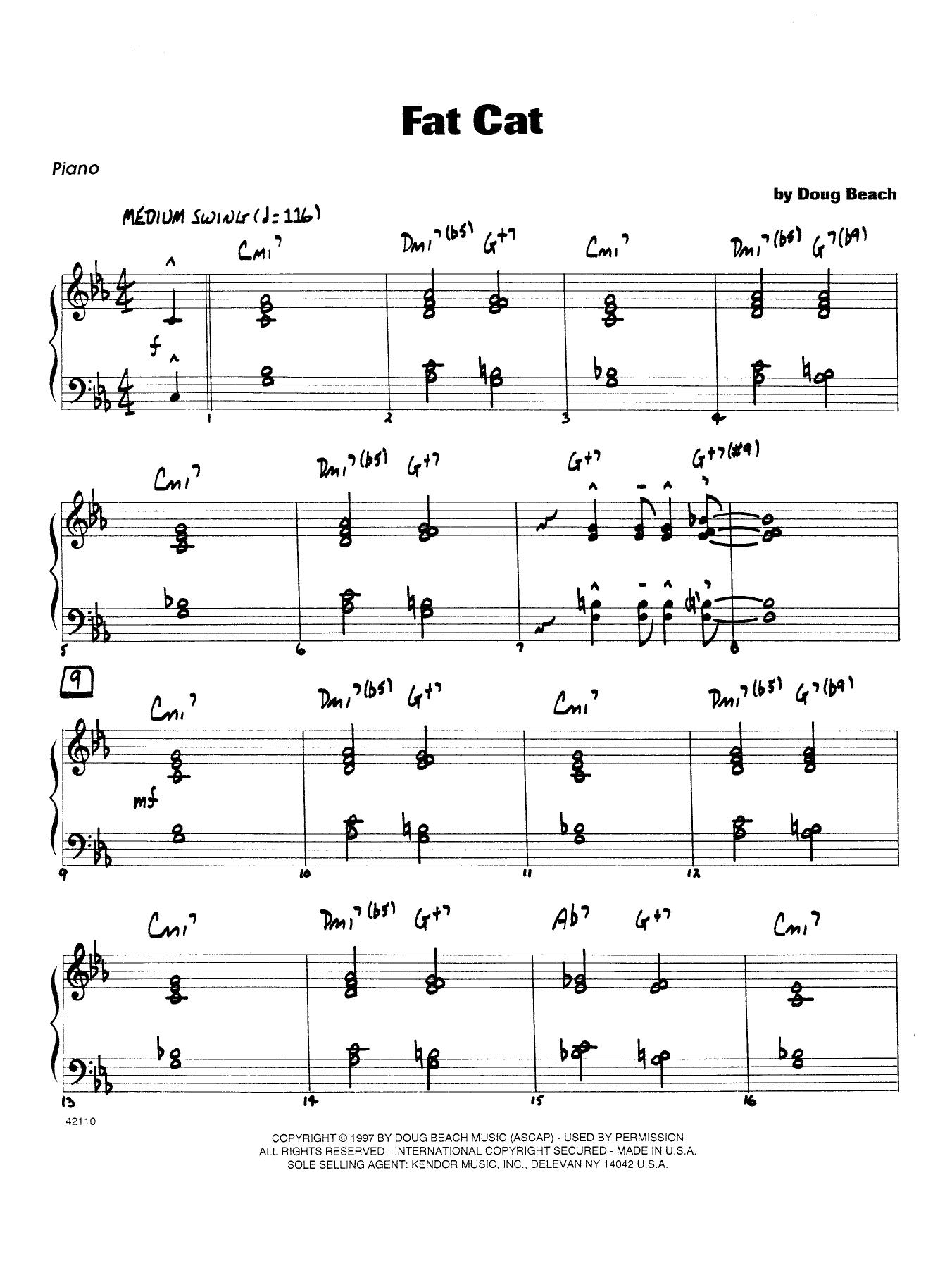 Fat Cat - Piano Sheet Music