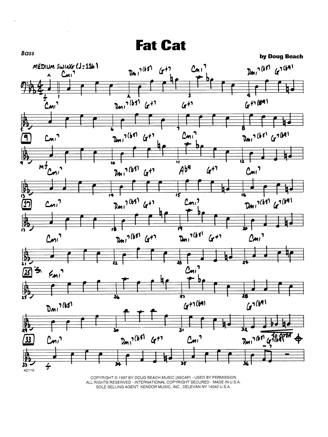 Fat Cat - Bass Sheet Music