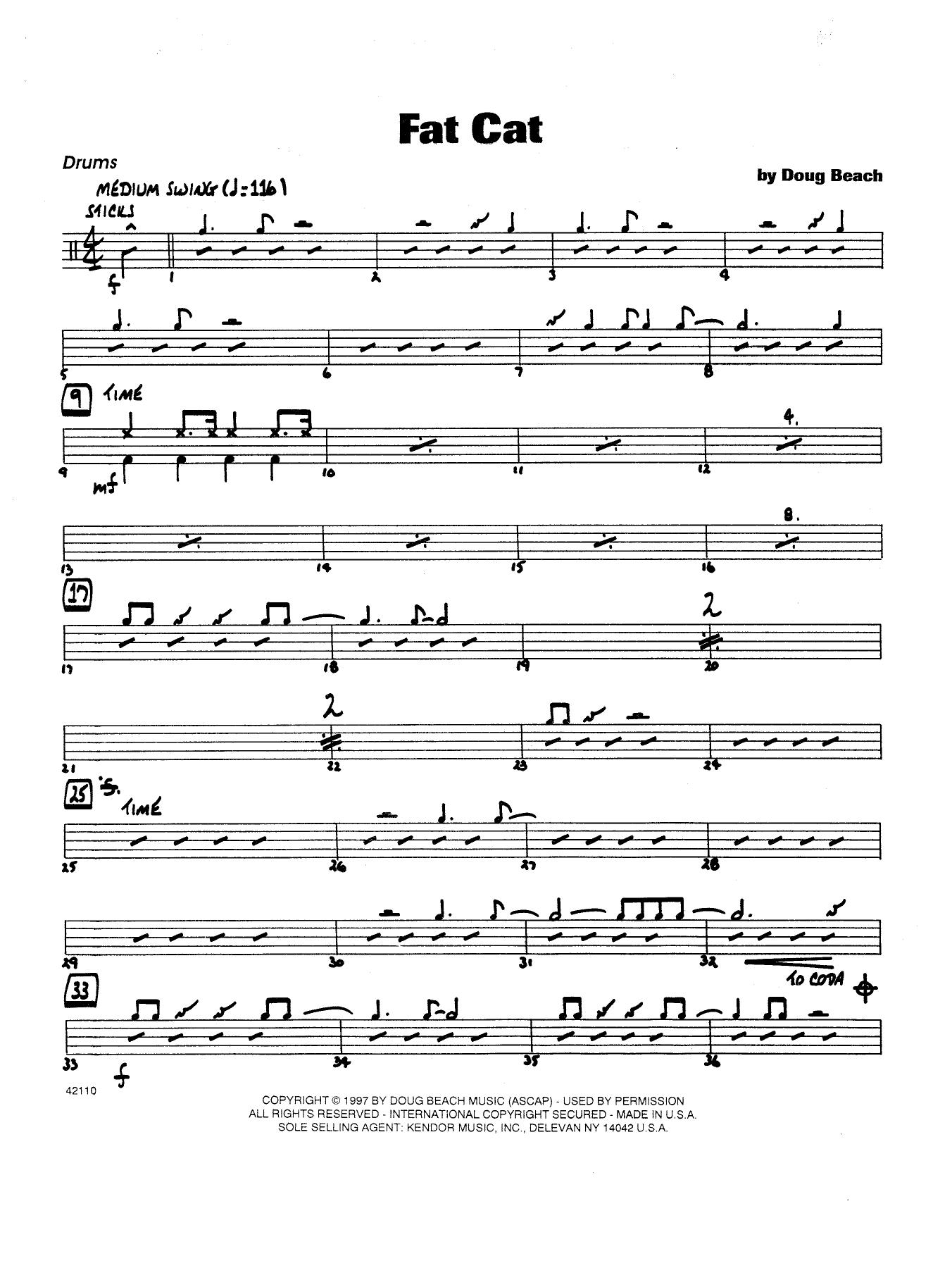 Fat Cat - Drums Sheet Music
