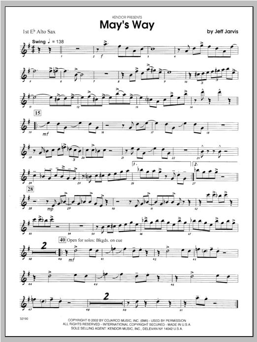 May's Way - Alto Sax 1 Sheet Music