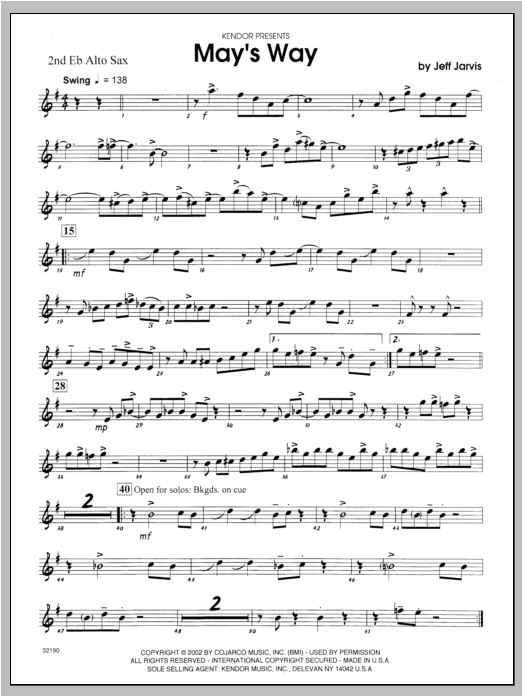 May's Way - Alto Sax 2 Sheet Music