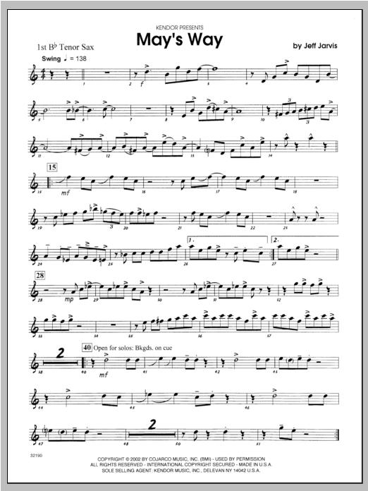 May's Way - Tenor Sax 1 Sheet Music