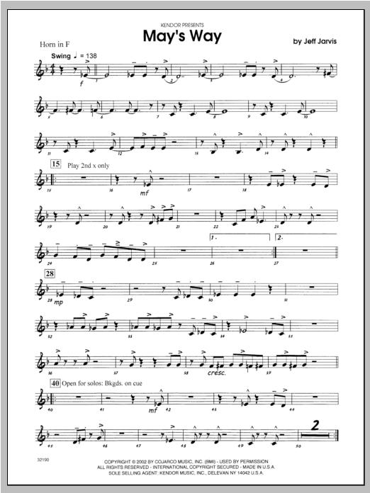 May's Way - Horn Sheet Music