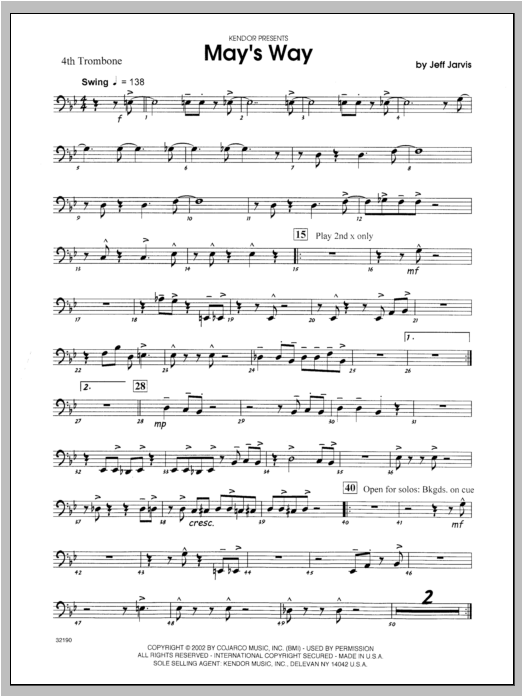 May's Way - Trombone 4 Sheet Music