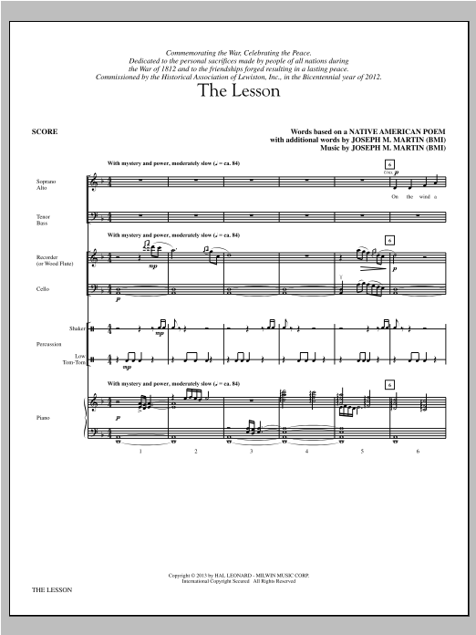 The Lesson (COMPLETE) sheet music for orchestra/band by Joseph M. Martin and Native American Poem. Score Image Preview.